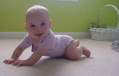 Baby on clean carpet
